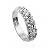 WGR009-18k White Gold Plated Swarovski Ring