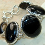 GB001-Natural Onyx 925 Sterling Silver Bracelet