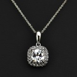 WGN066-18k White Gold Plated Necklace