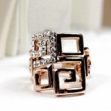 RGR003-18k Rose Gold Plated Swarovski Ring