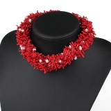 CJ001-Natural Coral and White Freshwater Pearl Necklace