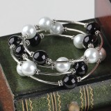 PJ009-Black and White 12mm Shell Bead Wrap Bracelet