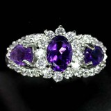 GR005-Top Colour Amethyst and CZ 925 Sterling Silver Ring