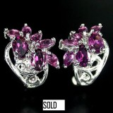 GE001-Rhodoliete Garnet Sterling Silver Earrings