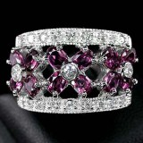 GR008-Natural Rhodolite Garnet and CZ 925 Sterling Silver Ring