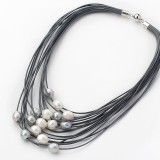 PJ002-White and Grey Freshwater Pearl Necklace