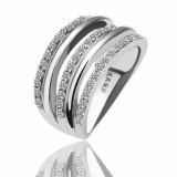 WGR005-18k White Gold Plated Swarovski Ring
