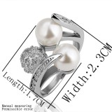 WGR008-18k White Gold Plated Swarovski Ring