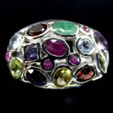 GR004-Natural Multigemstone Sterling Silver Ring