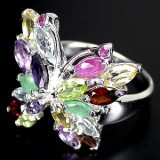 GR011-Multigemstone 925 Sterling Silver Ring