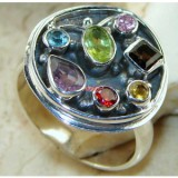 GR010-Multigemstone 925 Sterling Silver Ring
