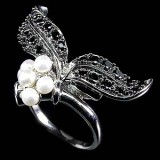 GR007-Natural Creamy White Pearl and Black CZ Sterling Silver Ring