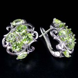 GE002-Natural Top Green Colour Peridot 925 Sterling Silver Earrings