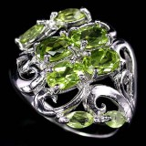 GR009-Natural Top Colour Peridot Sterling Silver Ring