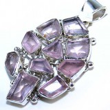 GP001-Natural Rose Quartz 925 Sterling Silver Pendant
