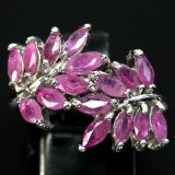 GR006-Natural Top Rich Pink Ruby 925 Sterling Silver Ring