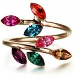 RGR008-18k Rose Gold Plated Mulitcolour Swarovski Ring
