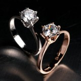 WGR014-18k White/Rose Gold Plated Swarovski CZ Ring