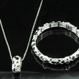 WGS007-18k White Gold Plated Swarovski Set